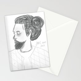 Man Bun Black & White Stationery Cards