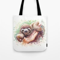 sloth Tote Bags featuring Sloth by Olechka