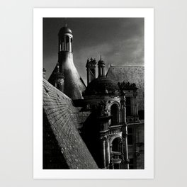 Château de Chambord II - Gothic Architecture Dark Creepy Eerie Scenery Art Print