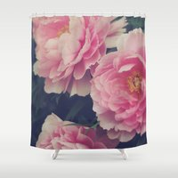 peonies Shower Curtains featuring Peonies  by Kameron Elisabeth