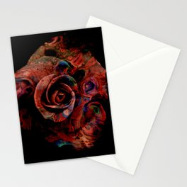 Fluid Nature - Marbled Red Rose Stationery Cards