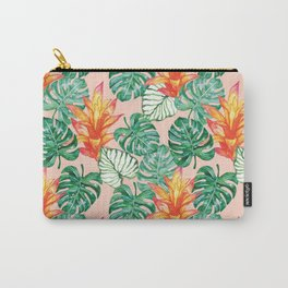 Peach tropical floral Carry-All Pouch