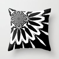 blankets Throw Pillows featuring Black & White Modern Flower by 2sweet4words Designs