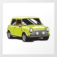 mini cooper Art Prints featuring Mini Cooper Car - Chartreuse by C Barrett