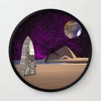 watchmen Wall Clocks featuring Purple light swirls round and round thinking thoughts that make no sound by Donuts