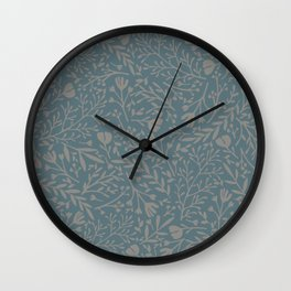 Scattered Flowers, Putty and Teal Blue Wall Clock