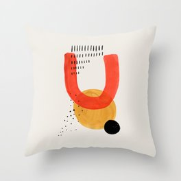 Sun Smile Yellow & Orange Mid Century Modern Colorful Minimalist Shapes Patterns by Ejaaz Haniff Throw Pillow