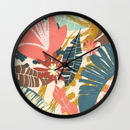 Tropical Flowers and Leaves Wall Clock
