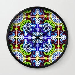 Mosaic Tile Print Talavera Pattern Wall Clock