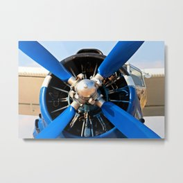 Blue Propeller, White Wings Of The Vintage Piston Engine Aircraft Metal Print