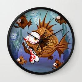 Psycho Fish Piranha with Bone Wall Clock
