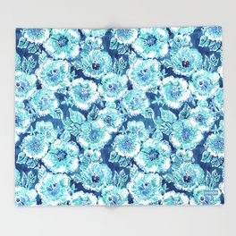 HIBISCUS BOUNTY Blue Tropical Watercolor Throw Blanket