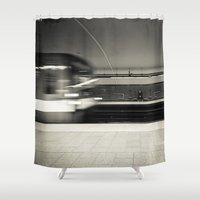 montreal Shower Curtains featuring Montreal Subway by Mikael Rouske