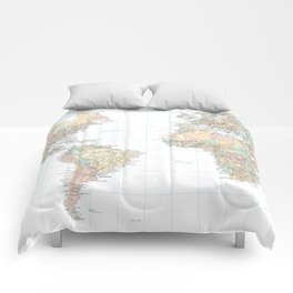Clear World Map Comforters