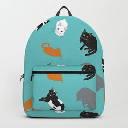 Kitty Cat Illustrated Repeat Pattern Illustration Backpack