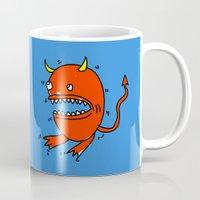 diablo Mugs featuring Huevo diablo by sitnuna