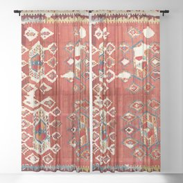 Hotamis  Antique Turkish Karapinar  Kilim Print Sheer Curtain