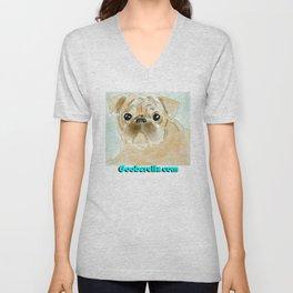 Pug face brown Unisex V-Neck
