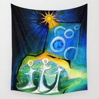 apollo Wall Tapestries featuring Apollo 1 Star Voyagers 1.0 by SPACE AGE ART