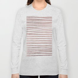 Chic elegant faux rose gold striped pattern Long Sleeve T-shirt