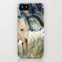 Watercolor Lion and Lioness iPhone Case