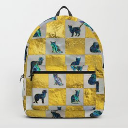 Cute Abalone Shell  Cat Pattern with gold Backpack