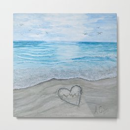 Heart themed-Rhythm of the Sea Metal Print