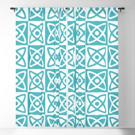 Mid Century Modern Atomic Check 140 Turquoise Blackout Curtain