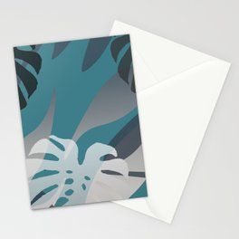 Big Monstera Leaves grey turquoise jungle Stationery Cards