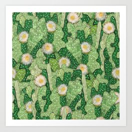 Cacti Camouflage, Floral Pattern  Green White Art Print