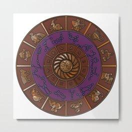 Zodiac horoscope wheel Metal Print