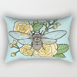 Cicada with Roses - Blue Rectangular Pillow