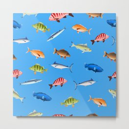 Decorative fishes on colored background seamless pattern Metal Print
