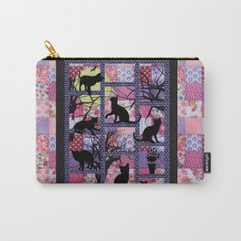 Night Cats on Patchwork Carry-All Pouch