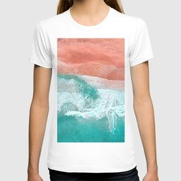 The Break - Turquoise Sea Pastel Pink Beach T-shirt