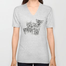 Kittens Pattern Cute Meowing Cats Unisex V-Neck