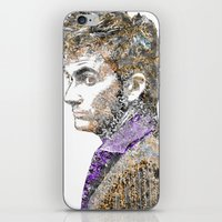david tennant iPhone & iPod Skins featuring David Tennant Dr. Who Text portrait by Mike Clements