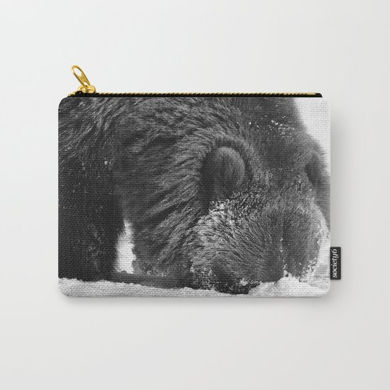 Alaskan Grizzly Bear in Snow, B & W - 2 Carry-All Pouch