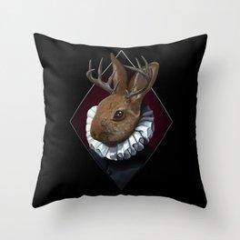 The Regal Jackalope Throw Pillow