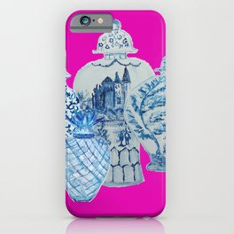 Hot Pink Blue and White Ginger Jars  iPhone Case