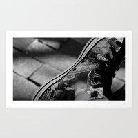sneakers Art Prints featuring Sneakers by Lucas Brown