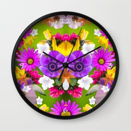 Flower mess - Pink Chaos Wall Clock