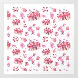 Girly pink teal festive watercolor cupcake funfair Art Print