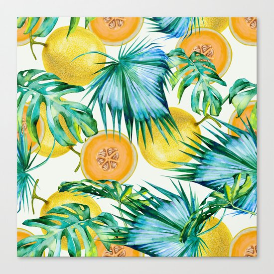 Leaf and melon pattern Canvas Print