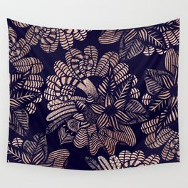 Elegant Rose Gold Floral Drawings on Navy Blue Wall Tapestry