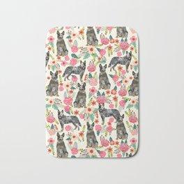Australian cattle dog floral dog breed cream pet pattern custom gifts for dog lovers Bath Mat