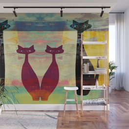 Mid-Century Modern Art 4 Cats - Graffiti Style Wall Mural