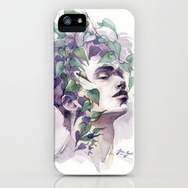 A man with ivy, watercolor portrait iPhone Case