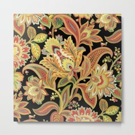 European Vintage Floral Wallpaper Paisley Pattern Metal Print