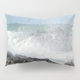 The waves of the Jeju sea crashing on the rocks , Jeju Island, Korea. Pillow Sham